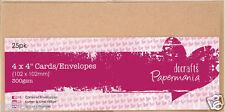 "Papermania 25 pk blank 300gsm 4""x4"" (102mm) square cards + envelopes Kraft brown"