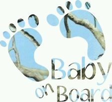 Baby On Board Footprints Baby Blue Camo Decal Window/Car/Truck/Sticker ***New***