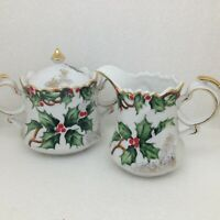 Vintage Lefton Holly Garland Creamer Sugar Bowl Lid NE1965 Christmas Gold Trim