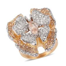CHAMPAGNE SIMULATED DIAMOND & AUSTRIAN CRYSTALS BUTTERFLY FLOWER MARQUISE RING 7