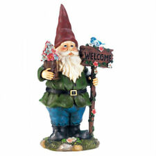 Solar Welcome Garden Gnome with Light-Up Bluebird