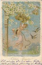 Pfingsten, Engel leuten die Glocke, Vogel, Schwalbe, Glückwunschkarte von 1905
