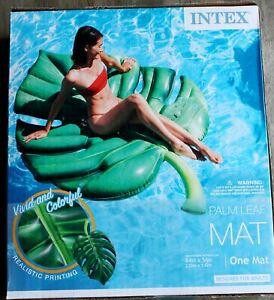 "INTEX Palm Leaf Mat Swimming Mattress inflatable  84""x56"" vivid realistic print"