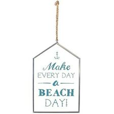 Glass Make Every Day A Beach Day Hanging Sign - Nautical Zinc Every Plaque Rope