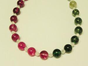 Rainbow coloured quartz & white crackled quartz gemstone necklace,