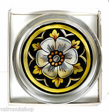 WHITE ROSE (HOUSE OF YORK) GLASS PAPERWEIGHT IN GIFT BOX - HAND PAINTED IN UK