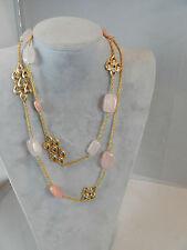"Alexis Bittar Elements 41"" Long Rose Quartz Necklace Swarovski Crystals NWT $295"