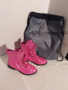 Alexandra Collection Pink Combat Boots Size 5 w/ Bag Used for Dance Competition