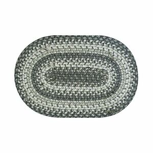 """Homespice Decor COBBLESTONE 10"""" x 15"""" Braided Oval Tablemat Grays, Charcoal"""