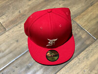 Fear Of God Essentials FOG New Era Fitted Cap Red Size 7 5/8