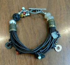 with Metal and Precious Stones Silpada B1889 15-Strand Brown Leather Bracelet