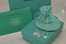 "Tiff & Co. Mini Double Heart Tag Pendant Necklace Pink Enamel 18"" Silver"