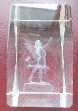3D Laser Kristall Glas - mit stehende Tinkerbell und Blumen - Fee - Elfe