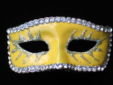 YELLOW THEATER MUSICAL NEW YEARS EVE MARDI GRAS MASQUERADE PARTY MASK PIN BROOCH