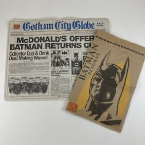 Vintage Batman Returns 1992 McDonalds Paper Bag & Happy Meal Souvenir Paper