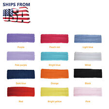 US New 12pcs Women/Men Cotton Sweatband Headband Stretch Head For Sport Sweat