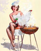 GIL ELVGREN 8x10 PIN-UP GIRL ART MINT PRINT-Brunnette Wife Big Breasts Sheer Leg