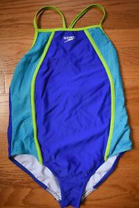 SPEEDO One Piece Swimsuit Girls Youth 16 XL Turquoise Blue Green
