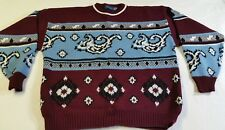 TOWNCRAFT Men's Acrylic Knit Crewneck Sweater Burgundy Blue XL