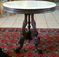Antique Victorian Eastlake Carved Mahogany, Beveled Marble Side Table