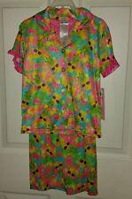 Girls 2 pc CAPRI SUMMER  Fruit Pineapple Watermelon sunglasses pjs pajama sz 4/5