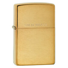Official Brushed Brass w/Solid Engraved Lid Zippo Cigarette Lighter - Boxed New