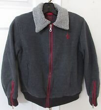 Ferrari Licensed Gray Jacket Youth (9-10) Made in Italy Red Trim EUC