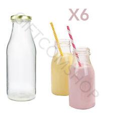 6 x 250ml in vetro mini bottiglie di LATTE PLUS GOLD COPERCHI Tea party accessori matrimonio