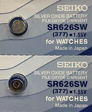 NEW SEIKO WATCH BATTERIES SR626W 377 X 2 PCS MADE IN JAPAN