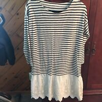 Soft Surroundings Dress Black/Cream Striped Sundress with Lace Detail