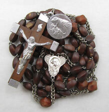 † VINTAGE 7 DECADE FRANCISCAN OVAL WOOD ROSARY &  ST FRANCIS & ANTHONY MEDAL †