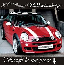 2 FASCE ADESIVE MINI COOPER ONE D S SD STRISCE COFANO BONNET DECAL STICKERS