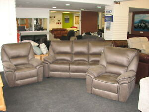 Boston grey 3 seater sofa and 2 reclining armchairs