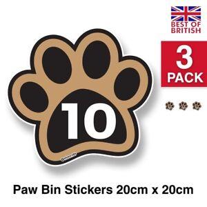 Large Paw Print - Personalised Wheelie Bin Sticker / Vinyl Labels with House ...