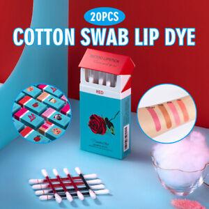 20pcs/ Cotton Swab Lipstick Women Long Lasting Lip Gloss Matte Tattoo Waterproof