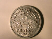 1944-B FRANCE WWII 2 Francs Original Ch BU Lustrous Two Franc French Coin