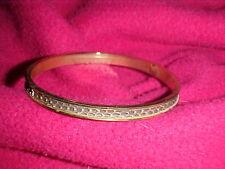 Vintage! Gold Tone Metal with Brown Snakeskin Bangle Bracelet ...Unsigned