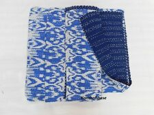Blue Ikat Kantha Quilt Cotton Throw Twin Blanket Bedspread Indian Gudari Ralli