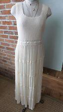 Vtg Dress Tea MAXi crochet Lace ivory sleeveless scoop neck beach coverup Sz 6P