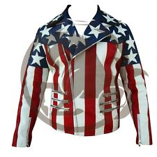 Original Leather American Flag Style Jacket Double Breasted Front Zipper