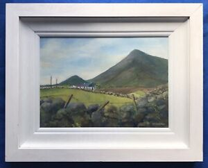 Original Irish Art Oil On Board Painting Donegal Farm Cottages By M McWhirter