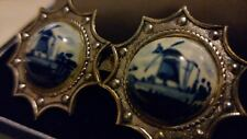Vintage Double Dutch BLUE DELFT Hand Painted Bone China Windmill Silver BROOCH**