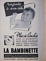 PUBLICITÉ PRESSE 1954 PLUS DE COUCHES A LAVER AVEC LA BAMBINETTE - ADVERTISING