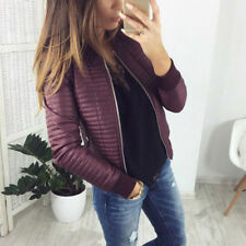 Women Imitation Leather Coat Jacket Tops Warm Zip Up Outwear Fall Winter Lady *