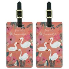 I am Calm I am Mindful Swans Flowers Luggage ID Tags Carry-On Cards - Set of 2