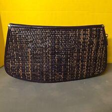 Barbara Bolan Vintage Clutch Style Dark Purple Leather Purse Bag Clutch Woven