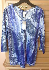 NWT Chico's Paisley Waters Julia V-Neck Top Size1 (8 10) Color: Tyrian Purple