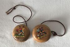 Pair Vintage Wooden Rdo. Espana Spanish Football Yo-Yo Toys Yoyo Yoyo's Yo-Yos