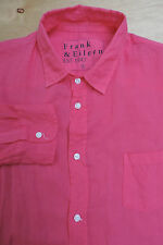 FRANK & EILEEN LUKE Shirt Bold Pink Light Cotton 1 Pocket Small Made in USA