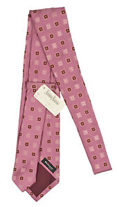 NEW $295 Kiton Pure Silk Tie!   Pink With Light Pink, Brown & Rust Medallions